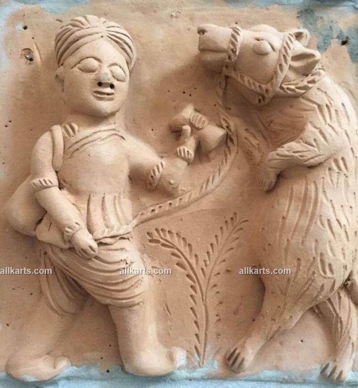 Molela Terracotta Plaque of Dancing Bear with its Kalandar