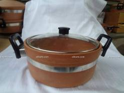 Terracotta Cooking and Serving Bowl with Glass Lid (Kadhai Donga)