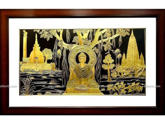 Meditating Gautama Buddha Wall Hanging Made of Sikki Grass