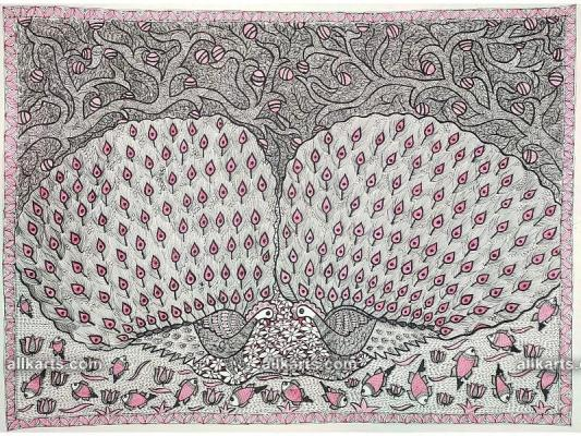 Madhubani Painting of Peacocks