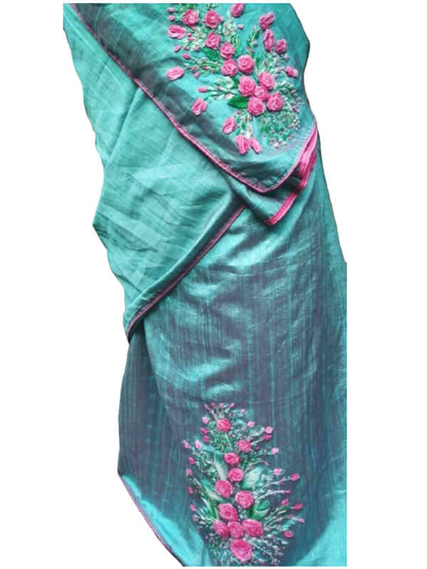 Rose Hand Embroidery Saree