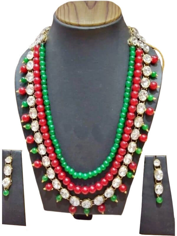 Glass Beads and Kundan Jewellery Set