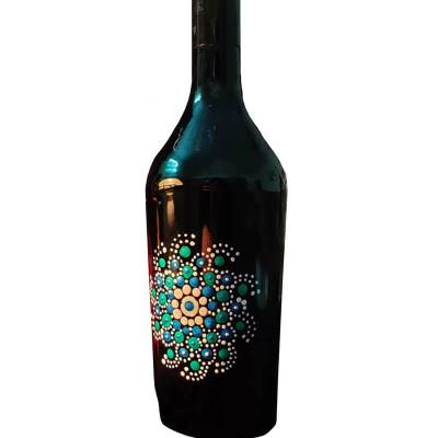 Glass Bottle with Mandala Art