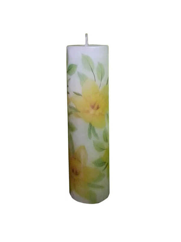 Refined Paraffin Wax Jasmine Scented Pillar Candle with Decoupage Craftwork