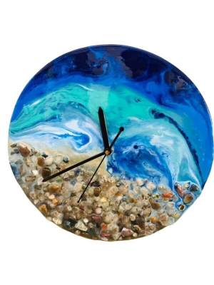 Resin Coated Canvas Clock with Stone Design