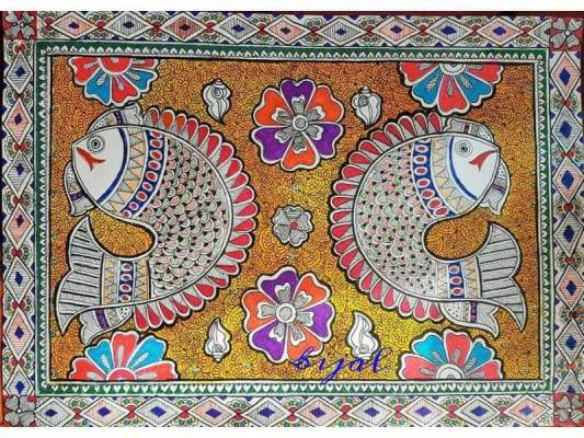 Madhubani Painting of Fish and Lotus Done on Paper with Different Pens