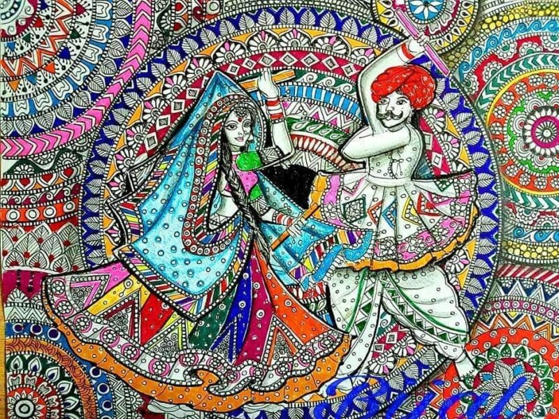 Garba Festival Painting Done on Paper with Different Pens