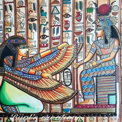 Egyptian Art of Goddess Isis and Egyptian Queen Done on Watercolor Paper with Water Colors
