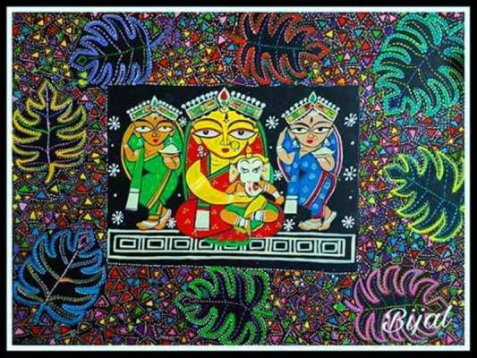Jamini Roy Bengal Pattachitra Art Form Painting Done on Paper with Acrylic Colors