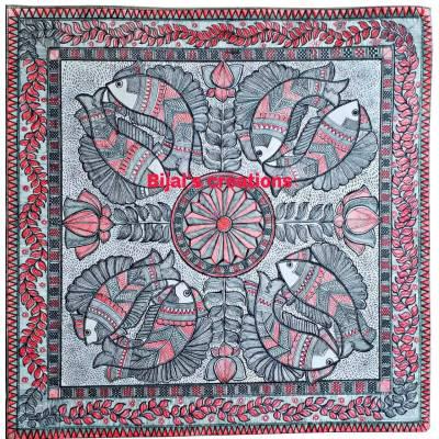 Kachni Style Madhubani Painting of Fish and Lotus