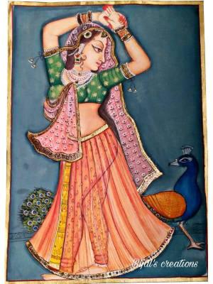 """Ragini"" Ragamala Painting with Transparent Lehenga and Dupatta"