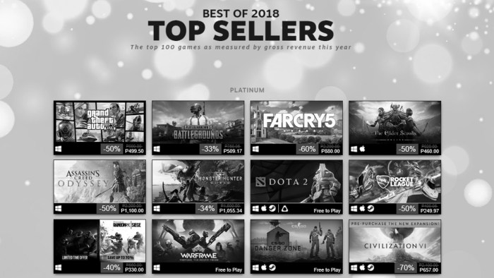 Top Selling Games on Steam in 2018