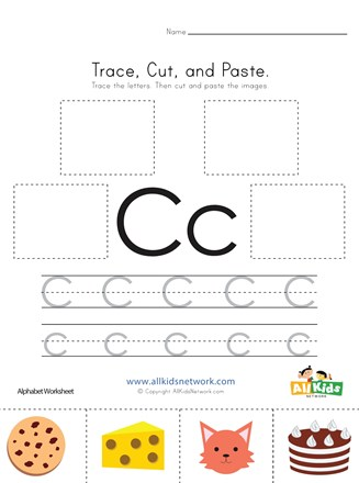 Trace Cut And Paste Letter C Worksheet