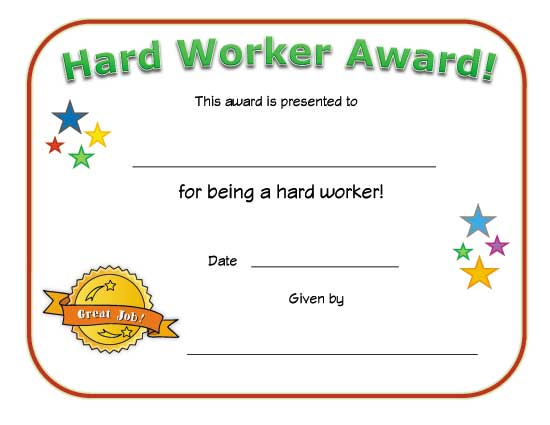 view and print your free hard worker award certificate