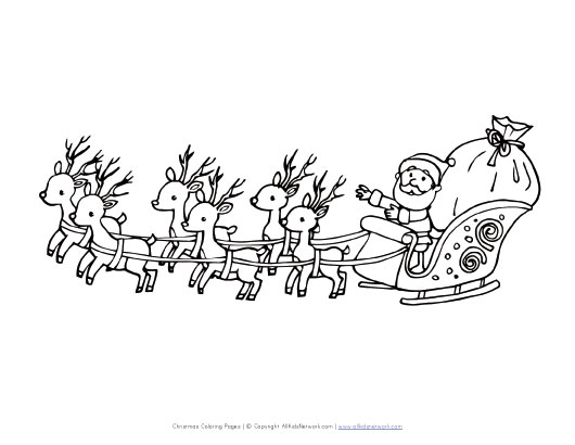 view and print your free santa flying in sleigh coloring page