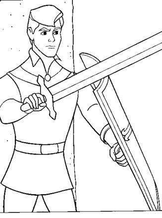 Sleeping Beauty Coloring Page Prince Phillip With Sword All Kids Network