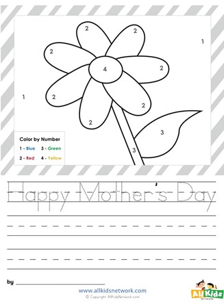 Mother S Day Color By Numbers All Kids Network