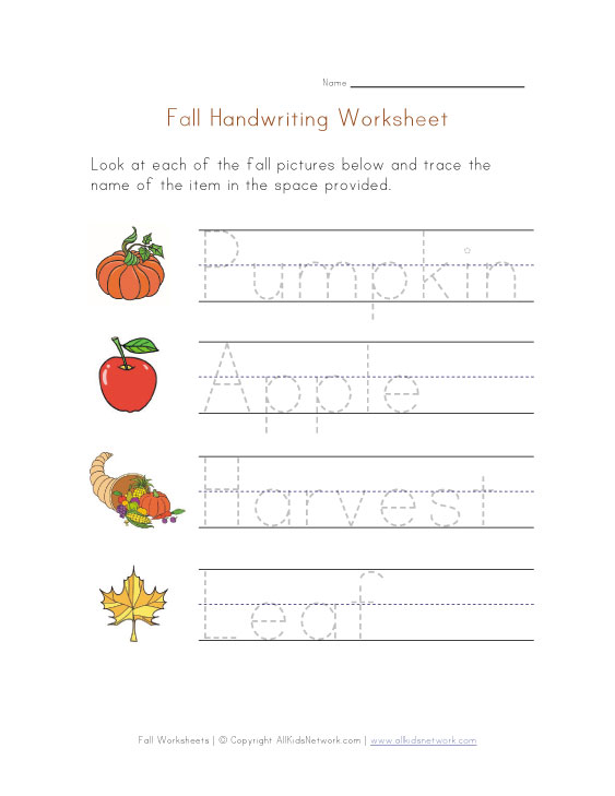Autumn Handwriting Worksheet