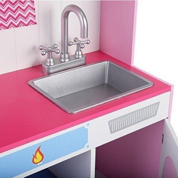Large Girls Kids Pink Wooden Play Kitchen Childrens Role