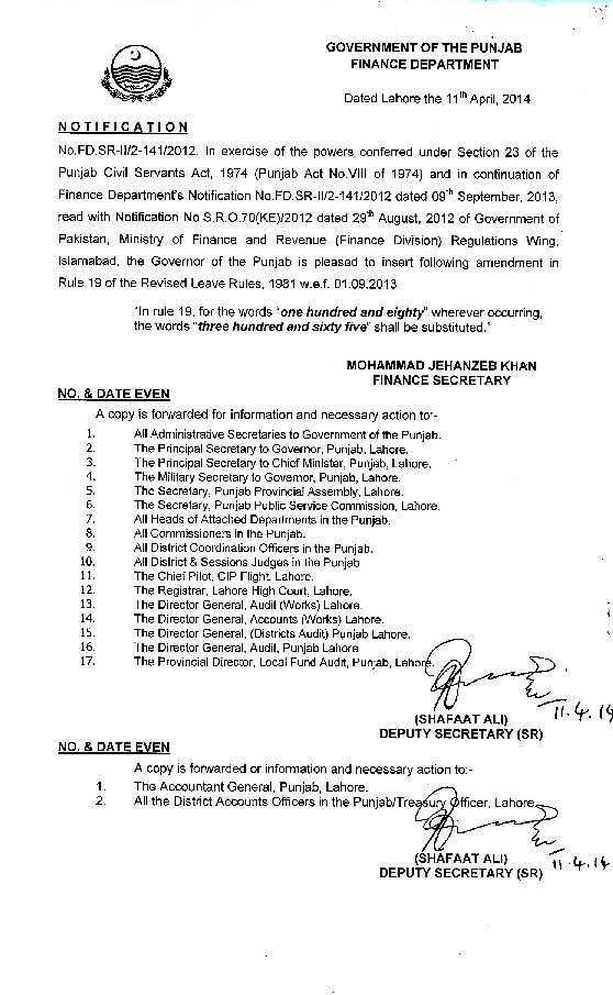 Notification of Punjab govt for change of Leave rules