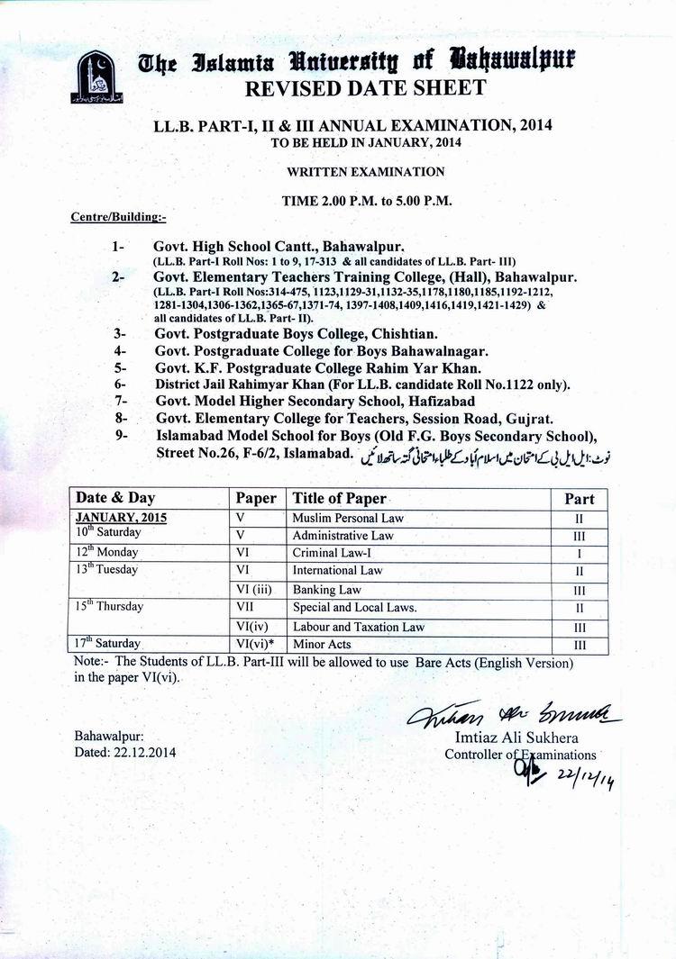 Islamia University Bahawalpur LLB Date Sheet