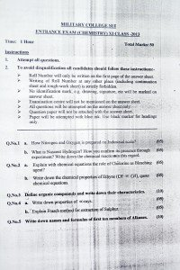 Military College SUI Chemistry 2013 Ist Year Paper