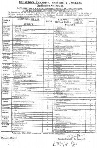 bzu ba bsc date sheet2015