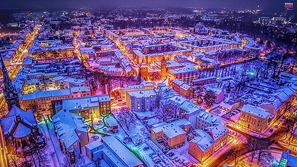 Luftbild Bernau bei Berlin Winterlandschaft Allmie