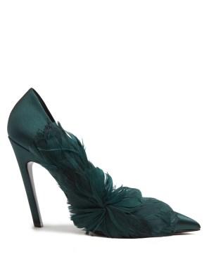 emerald green heels pointed