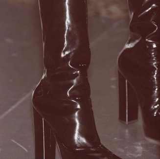 glossy black leather boots