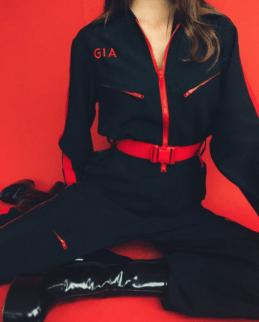red black jumpsuit