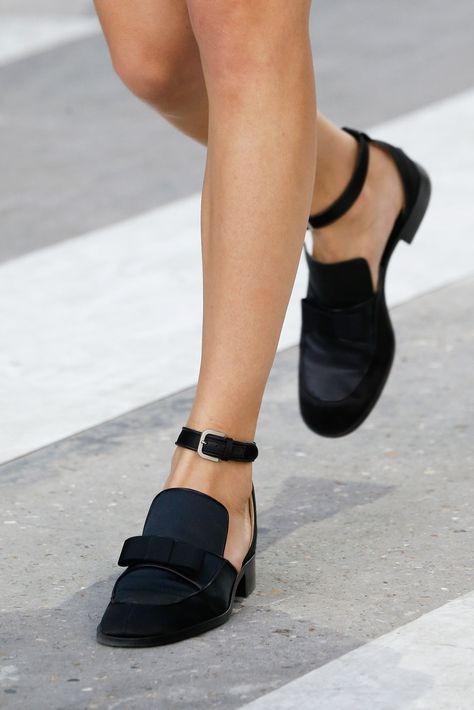 flats, black loafers, sandals