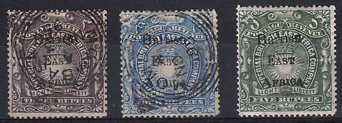 British East Africa #50-52 Fine Mint & Sq Circ Used trio one sml flt
