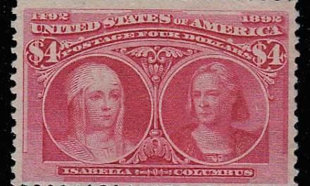 U.S.A. #244 Fine Unused 1893 $4 Columbian