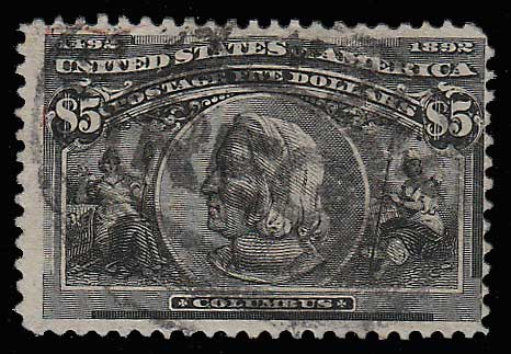 U.S.A. #245 Fine Used 1893 $5 Columbian rounded corner