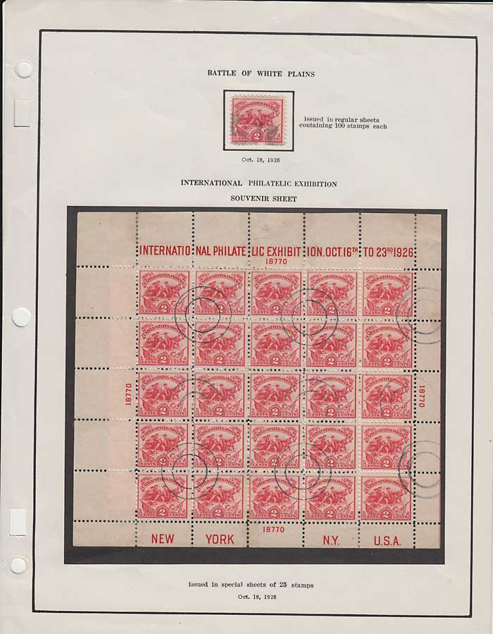 U.S.A. #630 Fine Used 1926 2c White Plains Sheet
