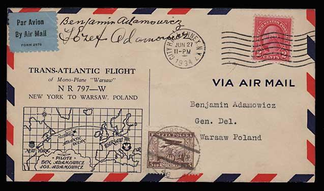 U.S./Poland 27 Jn 1934 Polish Bros Signed Flight Cvr duo
