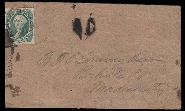 Confederate States #13 1863 Cover to Madison City faults