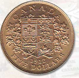 Canada choice BU 1912 $5 Gold