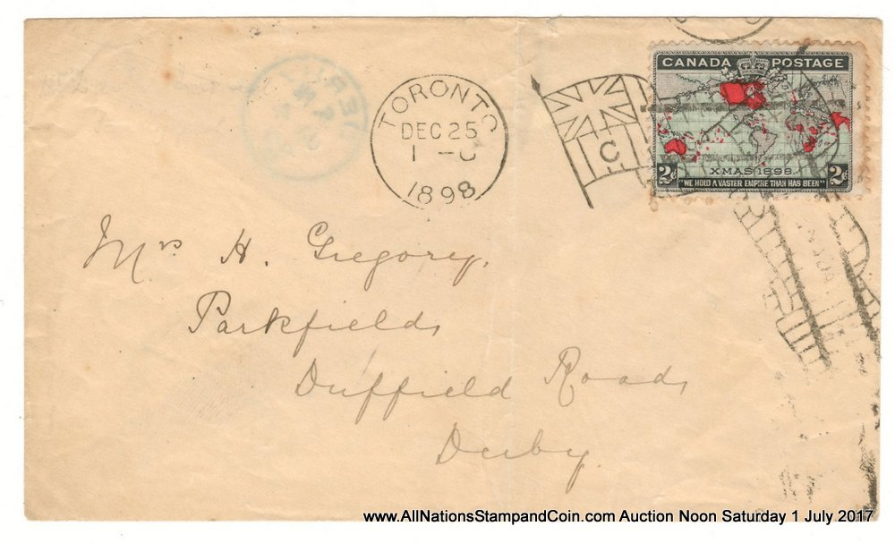 25 Dec 1898 Toronto Flag 2c Map transatlantic First Day Cover, small faults $900