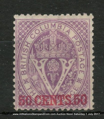 British Columbia #12i Fine Mint HR OG Inverted Watermark Variety, nibbed perf