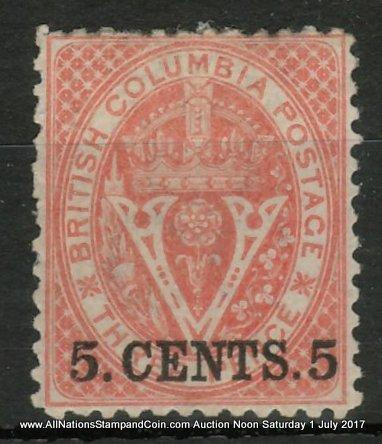 British Columbia #14 Fine Mint HR OG 1869 5c on 3d Bright Red ex Painter $4000