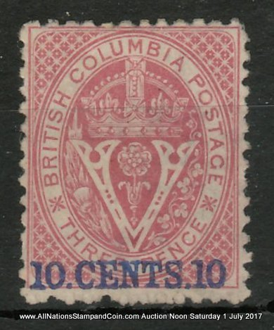 British Columbia #15 Fine Mint 1869 10c on 3d Lilac Rose, owners backstamps