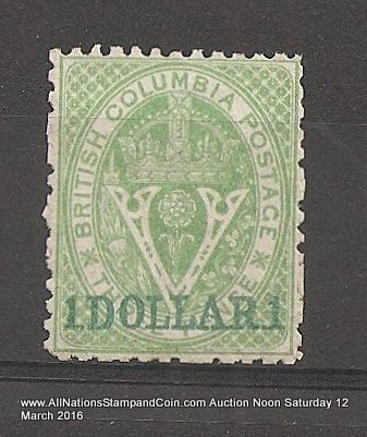 British Columbia #18 F/VF Unused 1869 $1 on 3d Green Perf 12.5
