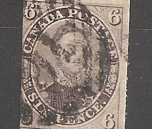 Canada #10 Fine Used 1857 6d Reddish Purple Thick Paper