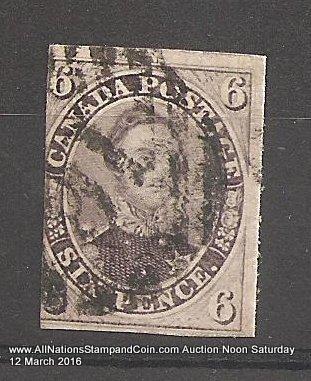 Canada #10 Fine Used 1857 6d Reddish Purple Thick Paper