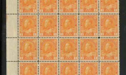 Canada #105 about VF 28 NH left margin 1c Admiral Block of 30, thin in one