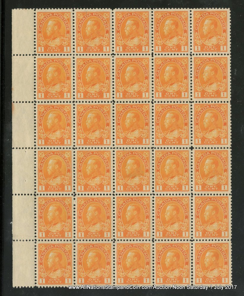 Canada #105 about VF 28 NH left margin 1c Admiral Block of 30, thin in one $3400