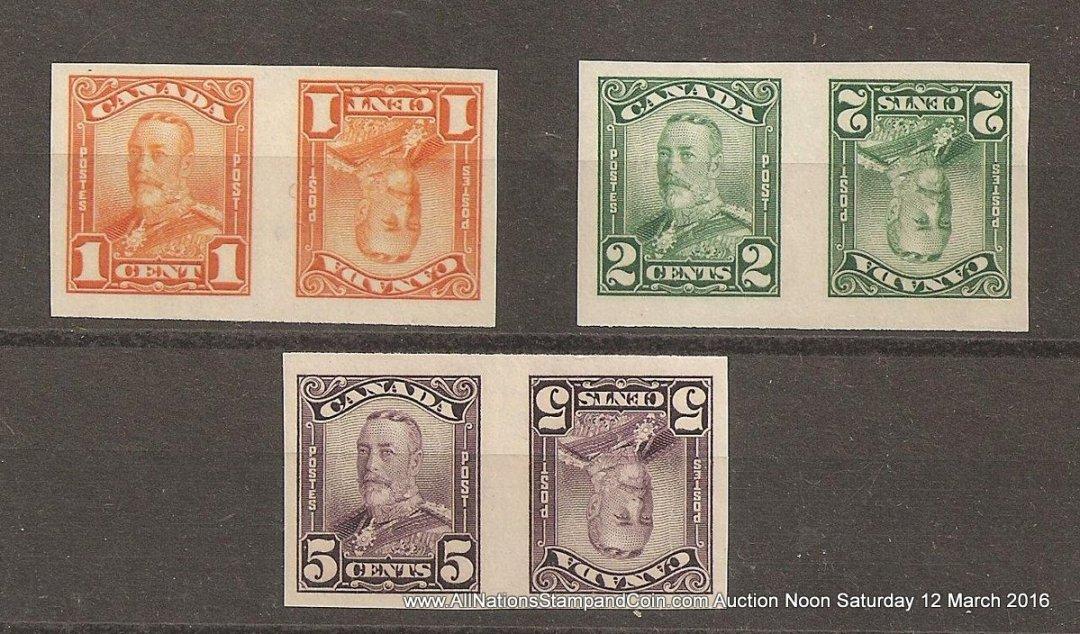 Canada #149cvi-150cvi, 153cvi VF Mint Imperf Tete-Beche 1c/5c Scroll Pair trio (6)