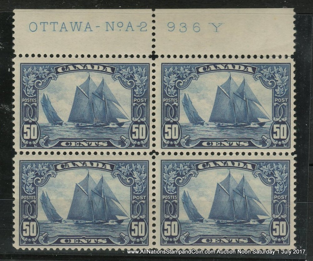 Canada #158 Fine or better Stamps NH top margin plate A2 Block, hdlng mks